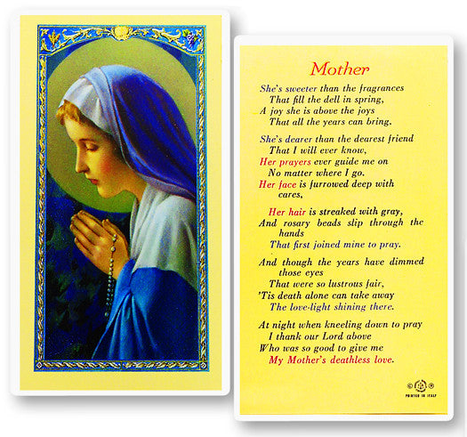 Mother - Madonna Praying Rosary Holy Card