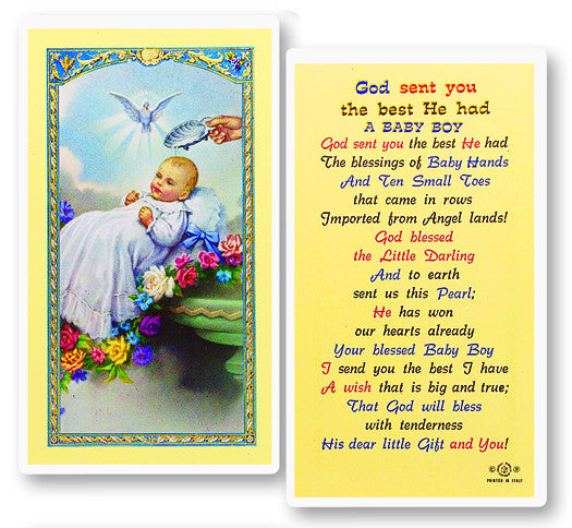 Baptism - Boy Holy Card