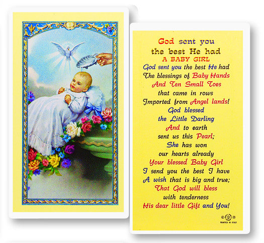 Baptism - Girl Holy Card