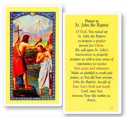 St. John the Baptist Holy Card
