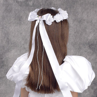First Communion Flower Crown with Bow