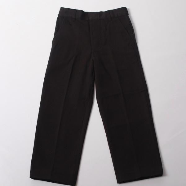 Boys Black Adjustable Waist Double-Knee Pant