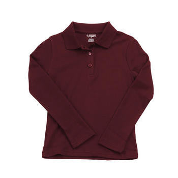Girls Burgundy Long Sleeve Soft Knit Polo with Picot Collar