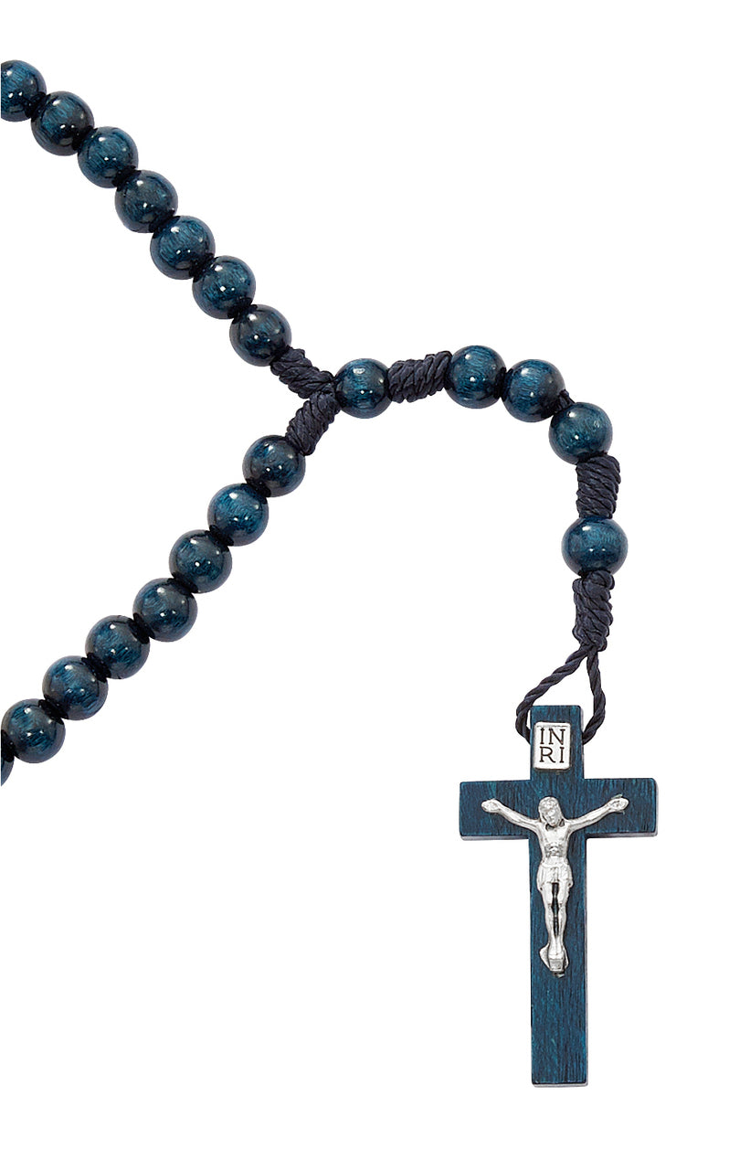 Blue Wood Corded First Communion Rosary