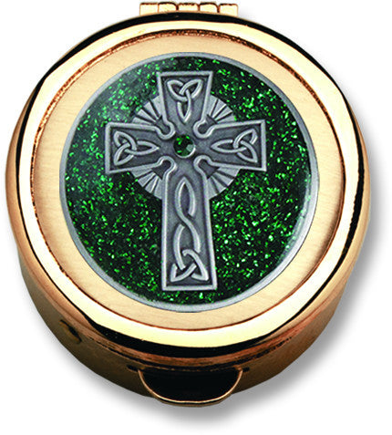 Pyx - Green Celtic Cross Design