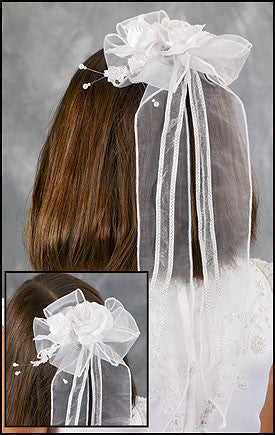 First Communion Flower Hair Bow