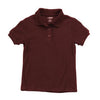 Girls Burgundy Short Sleeve Soft Knit Polo with Picot Collar