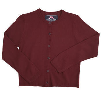 Girls Burgundy Fine Gauge Knit Cardigan Sweater
