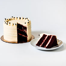 Load image into Gallery viewer, Cocoa and Fig Black Velvet Cake Sliced