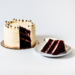Cocoa and Fig Black Velvet Cake Sliced