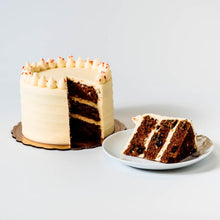 Load image into Gallery viewer, Cocoa and Fig Carrot Cake Sliced