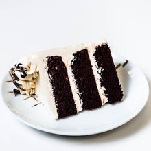 Load image into Gallery viewer, Cocoa and Fig Chocolate Vanilla Cake Slice