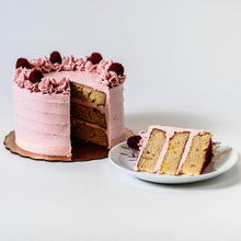 Load image into Gallery viewer, Cocoa and Fig Lemon Raspberry Cake Sliced