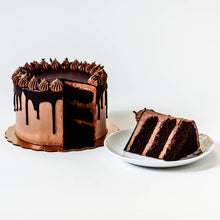 Load image into Gallery viewer, Cocoa and Fig Sinfully Chocolate Cake Sliced