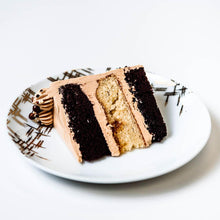 Load image into Gallery viewer, Cocoa and Fig Tuxedo Salted Caramel Cake Slice