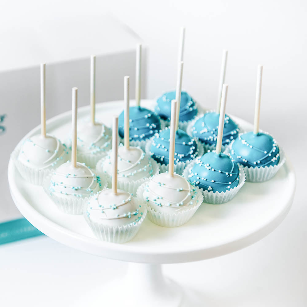 It's a Boy Cake Pops, blue and white cake pops