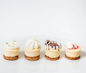 Mini Cheesecakes, key lime cheesecake, vanilla cheesecake, turtle pecan cheesecake, raspberry cheesecake