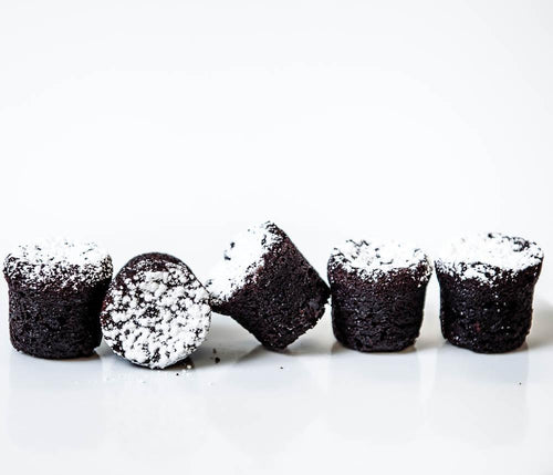 Mini Valrhona Chocolate Bouchons, brown bites