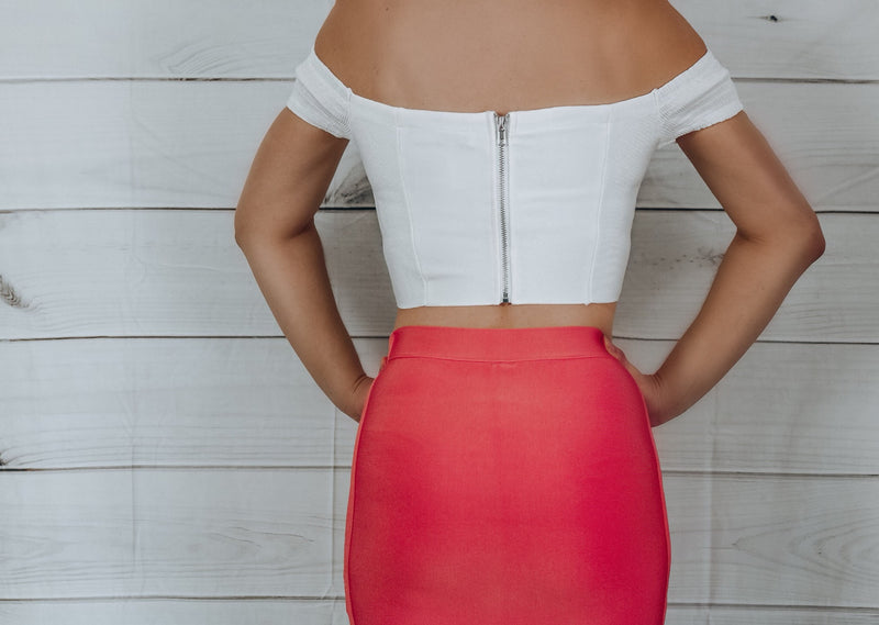 Babe Bandage Cropped Top - White