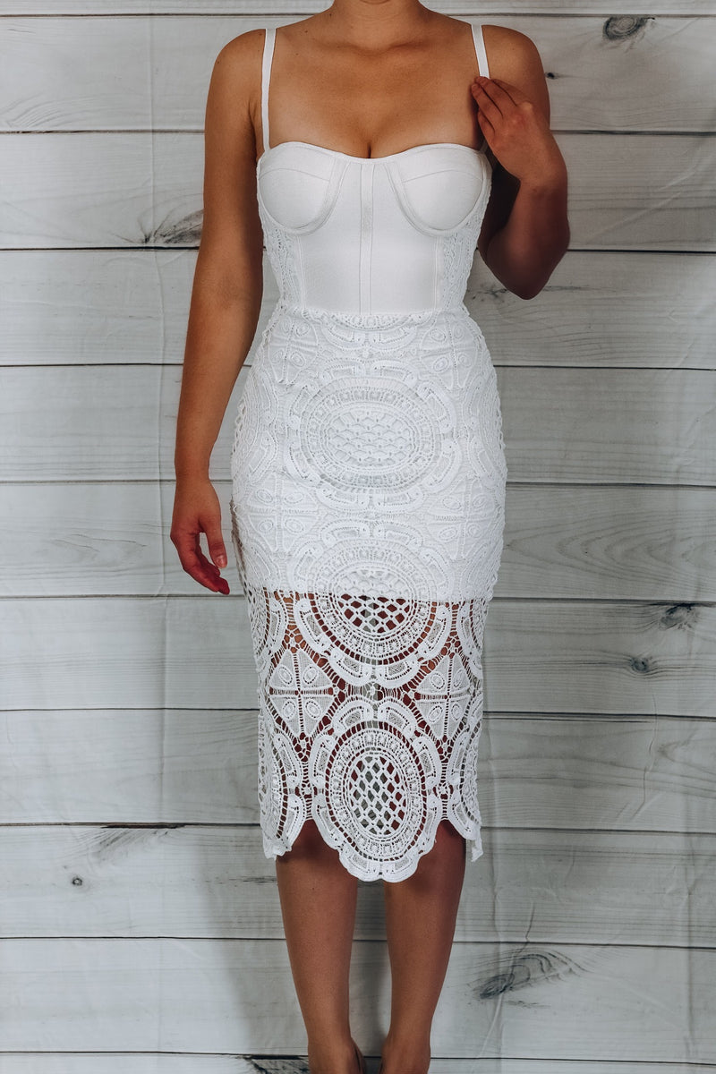 Celebrity Lace White Dress