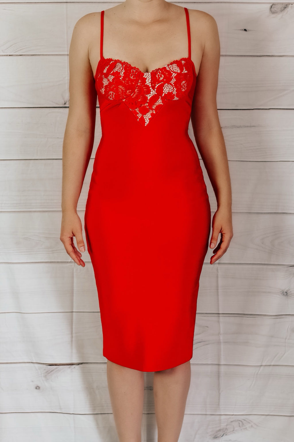 Love Me Bandage Midi Dress - Red