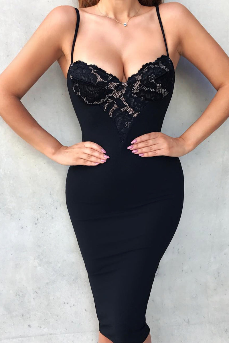 Love Me Bandage Midi Dress - Black