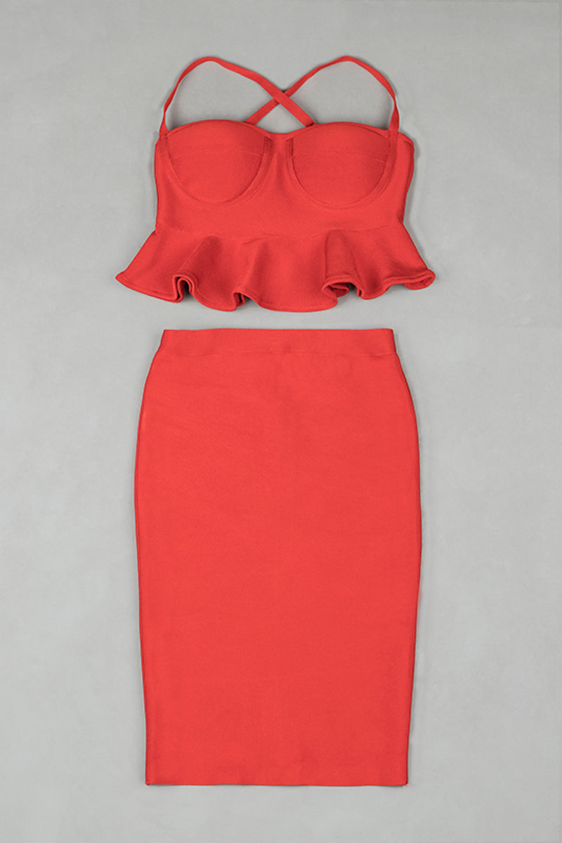 Your Valentine Two Piece Dress Set - Red