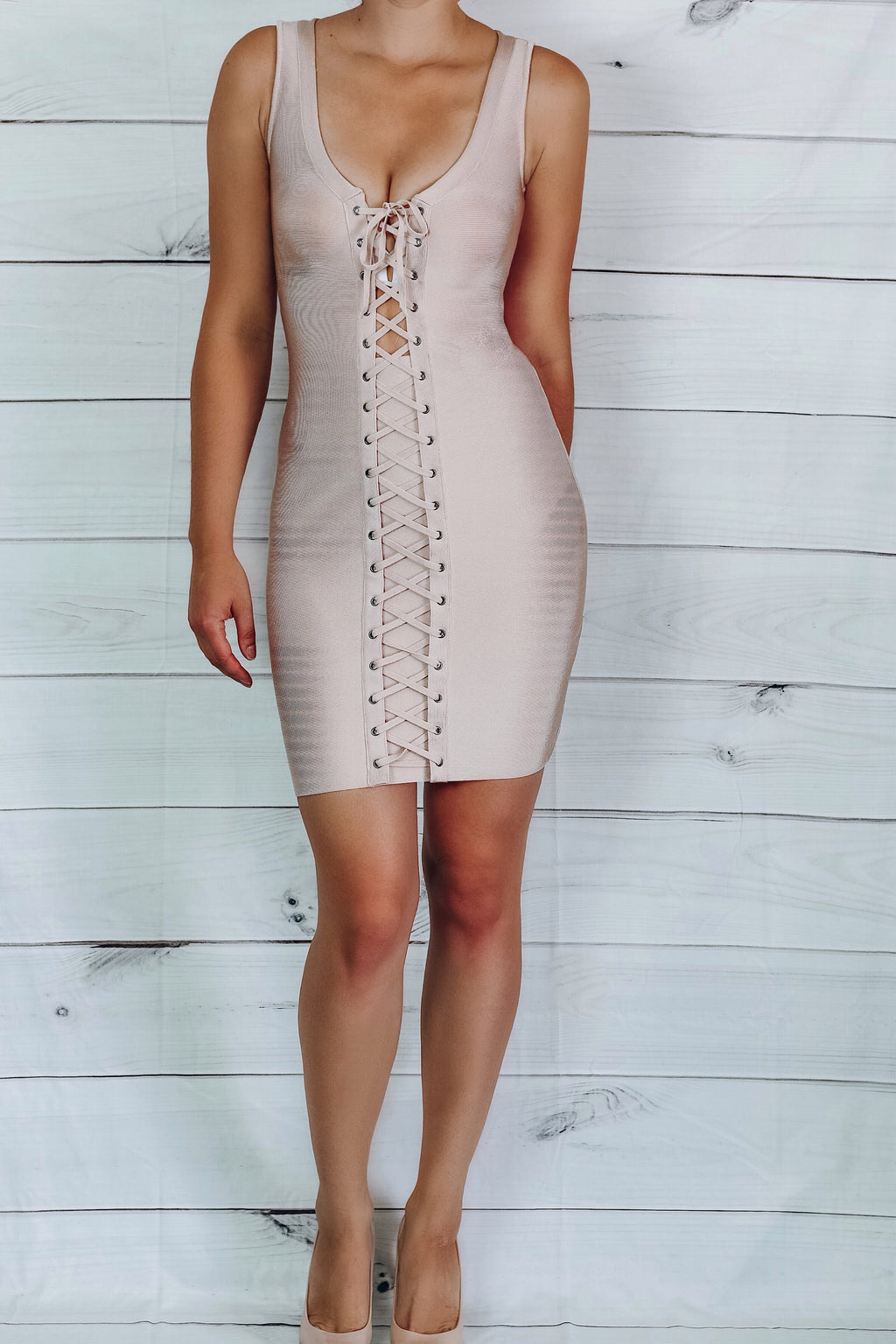 Star Lace-Up Bandage Dress - Apricot Pink