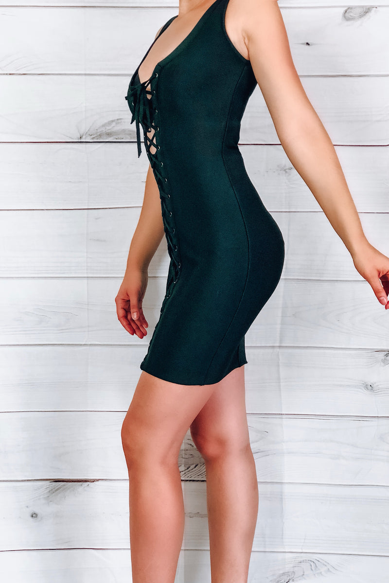 Star Lace-Up Bandage Dress - Black