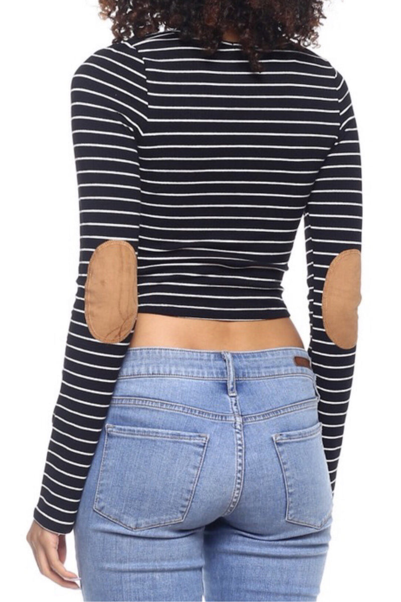 Stripe Cropped Long Sleeve Top