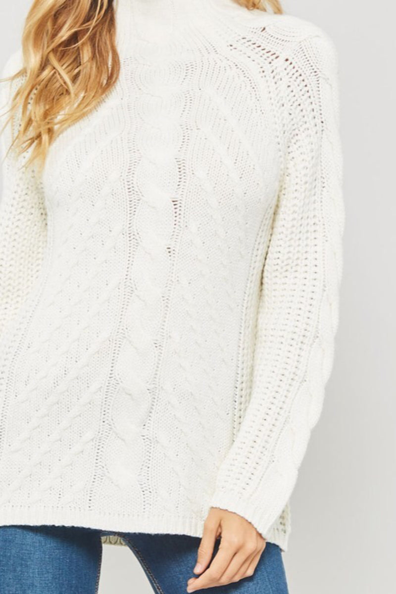 Snowy White Cable Knit Sweater