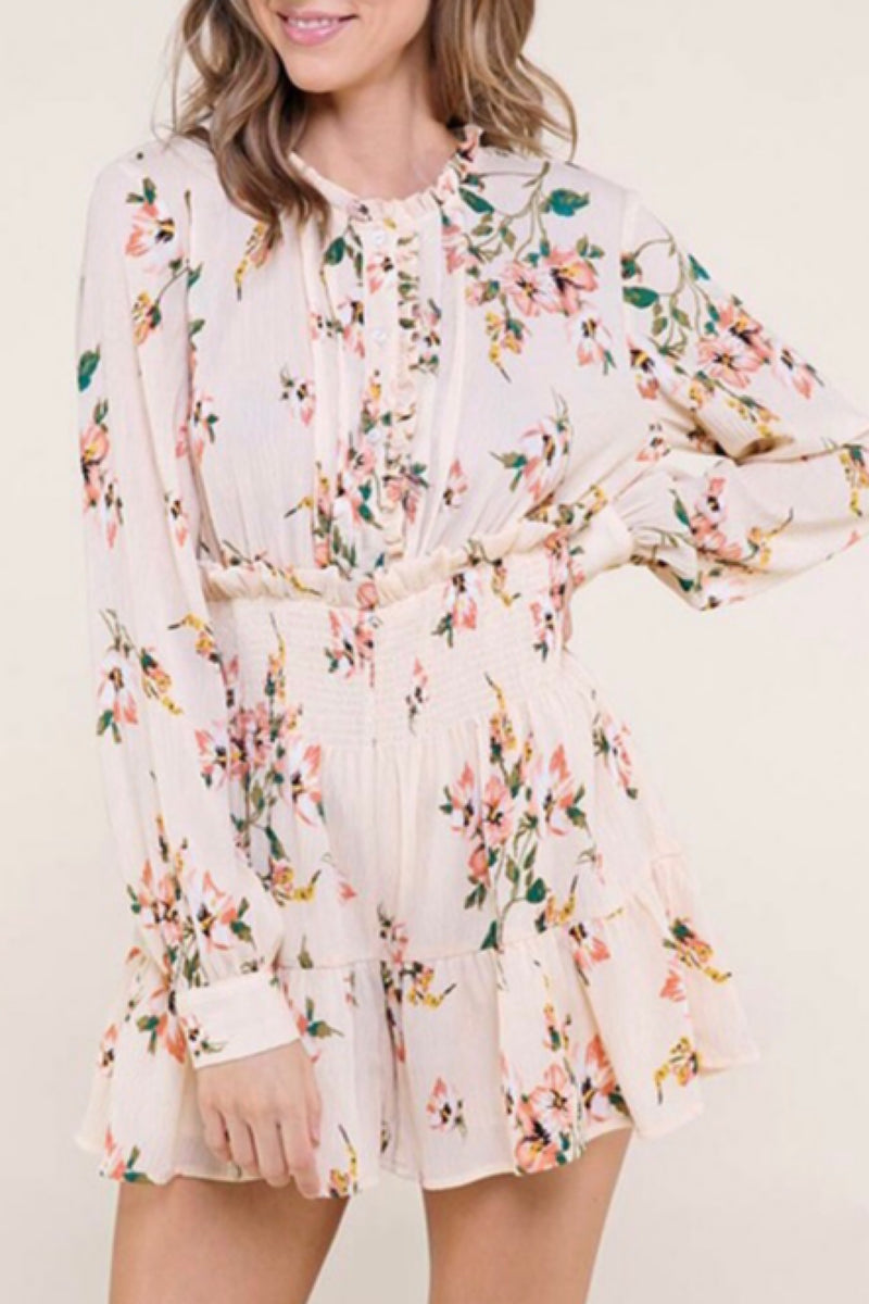 Kiss Me Now Floral Romper with Sleeves
