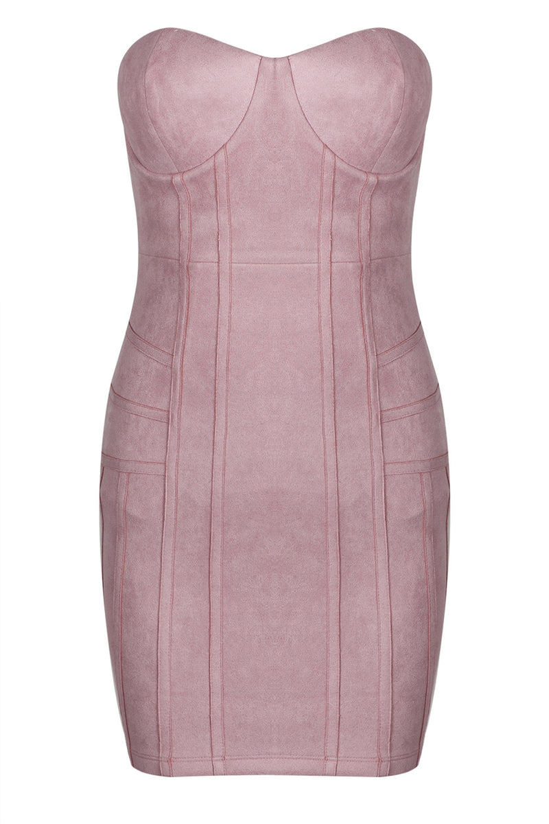 Suede Mini Strapless Dress in Pink