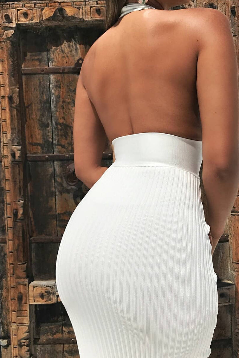 White Bandage Long Midi Dress