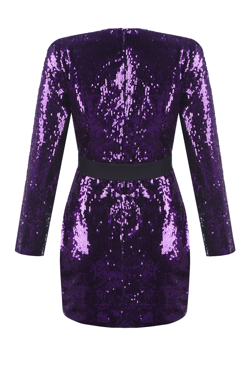 Purple Love Sequin Short Dress