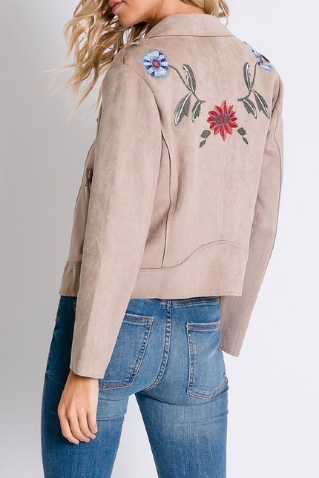 Vegan Suede Trench Floral Jacket