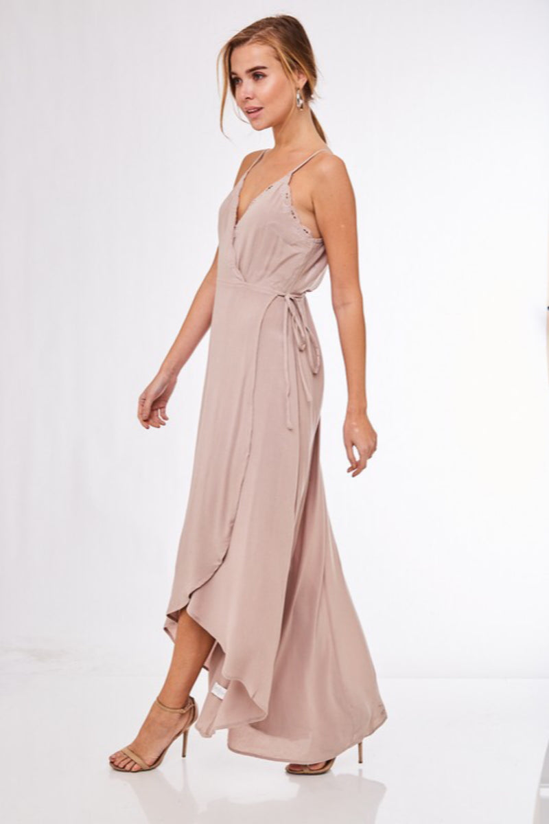 My High Low Embroidered Cami Maxi Wrap Dress