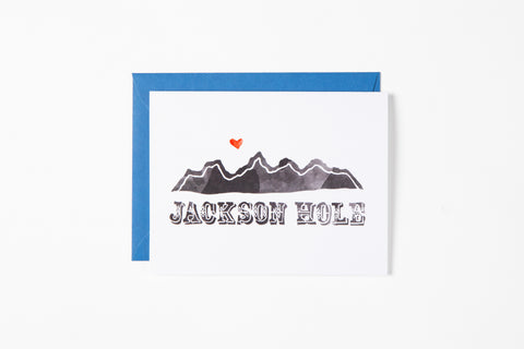 Greeting Card - Jackson Hole Mountains - Bird and Buffalo, Made in Jackson Hole, WY