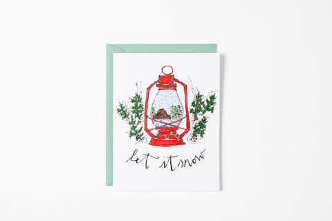 Greeting Card - Red Lantern - Bird and Buffalo, Made in Jackson Hole, WY