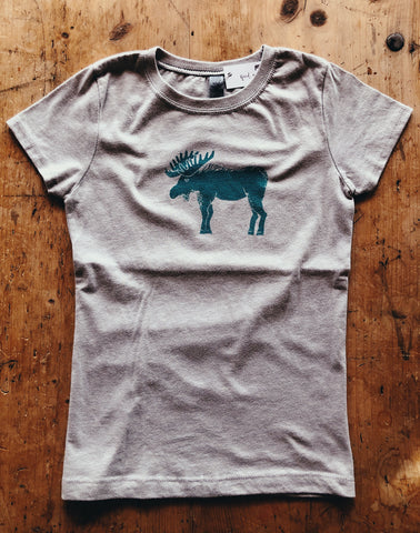 SALE Kids Short Sleeve T-Shirt - Moose - Bird and Buffalo, Made in Jackson Hole, WY