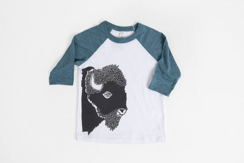 Bison Profile Kid's Baseball Shirt Blue/White - Bird and Buffalo, Made in Jackson Hole, WY