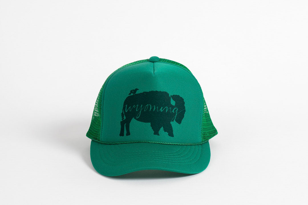 Trucker Hat Green BB Wyoming - Bird and Buffalo, Made in Jackson Hole, WY