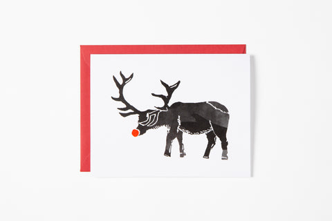 Greeting Card - Red Nose Elk - Bird and Buffalo, Made in Jackson Hole, WY