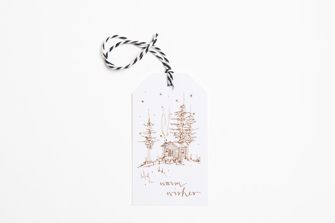Foil Gift Tag - Warm Wishes Cabin - Bird and Buffalo, Made in Jackson Hole, WY