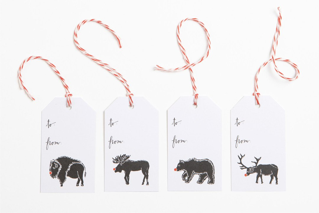 Gift Tag - Set of Red Nose Animals - Bird & Buffalo