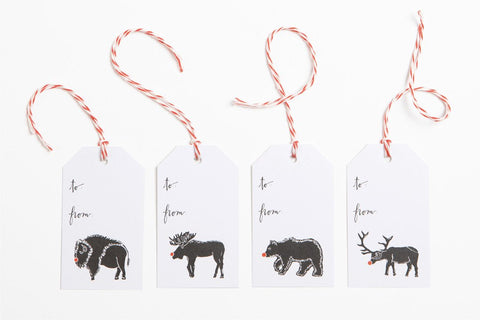 Gift Tag - Set of Red Nose Animals - Bird and Buffalo, Made in Jackson Hole, WY