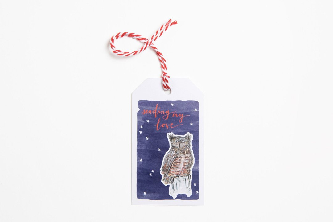 Gift Tag - Sending My Love Owl - Bird and Buffalo, Made in Jackson Hole, WY