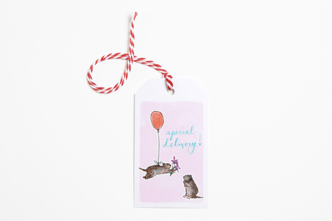 Gift Tag - Special Delivery Marmots - Bird and Buffalo, Made in Jackson Hole, WY
