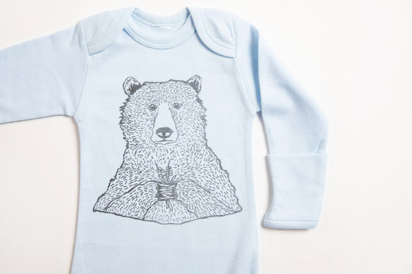 Bear Holding Flowers Baby Gown - Bird & Buffalo