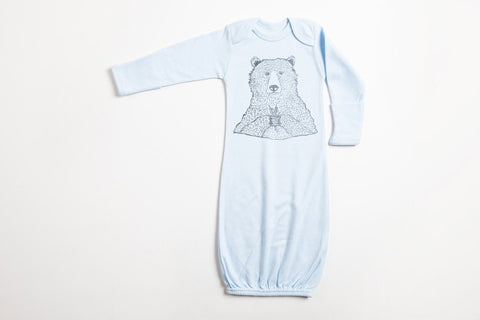 Bear Holding Flowers Baby Gown - Bird and Buffalo, Made in Jackson Hole, WY
